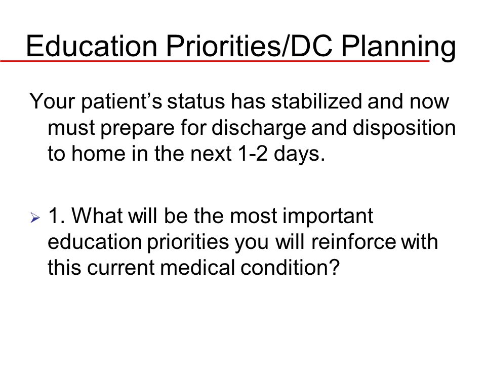 Education Priorities/DC Planning