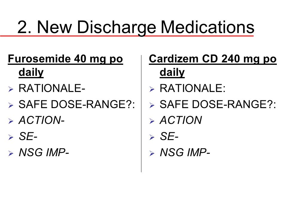 2. New Discharge Medications