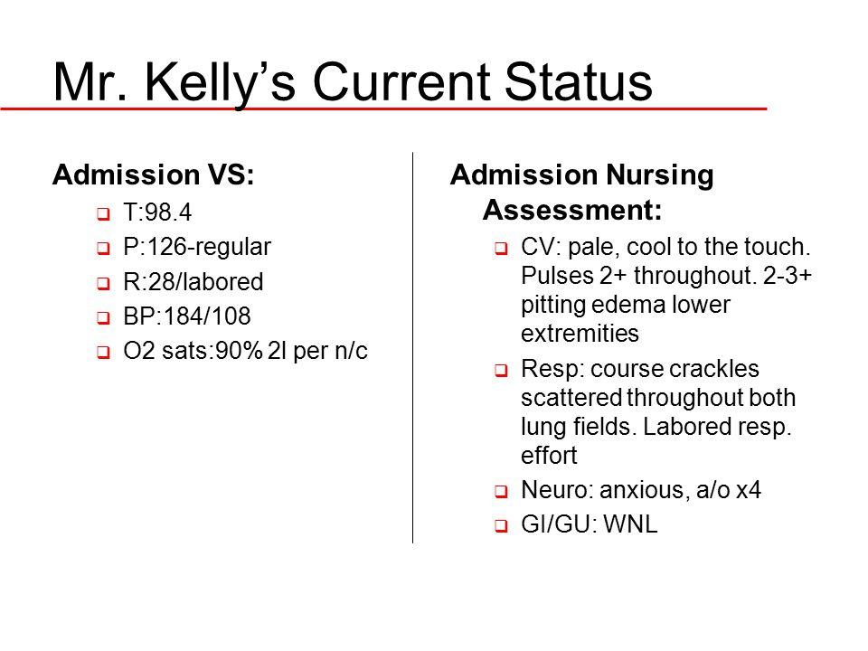 Mr. Kelly's Current Status