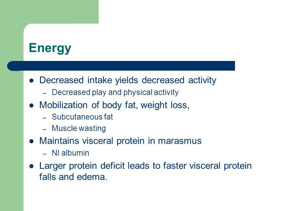 Energy Decreased intake yields decreased activity