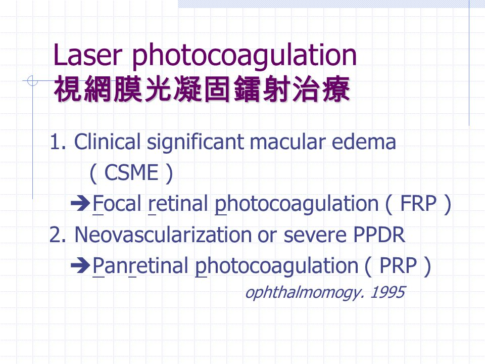 Laser photocoagulation 視網膜光凝固鐳射治療