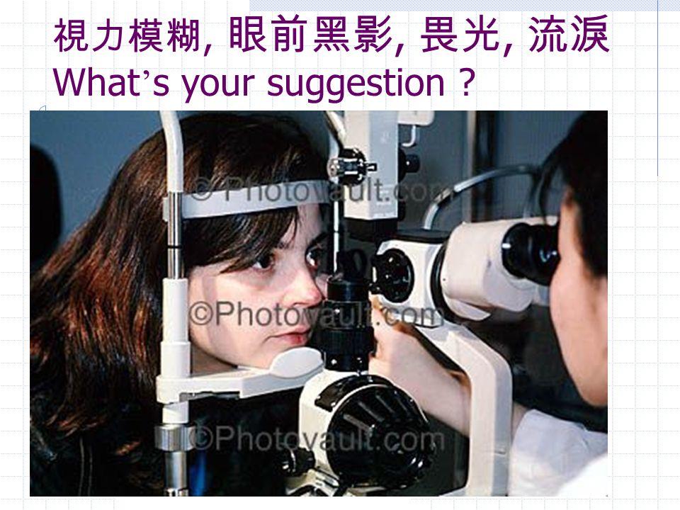 視力模糊, 眼前黑影, 畏光, 流淚What's your suggestion