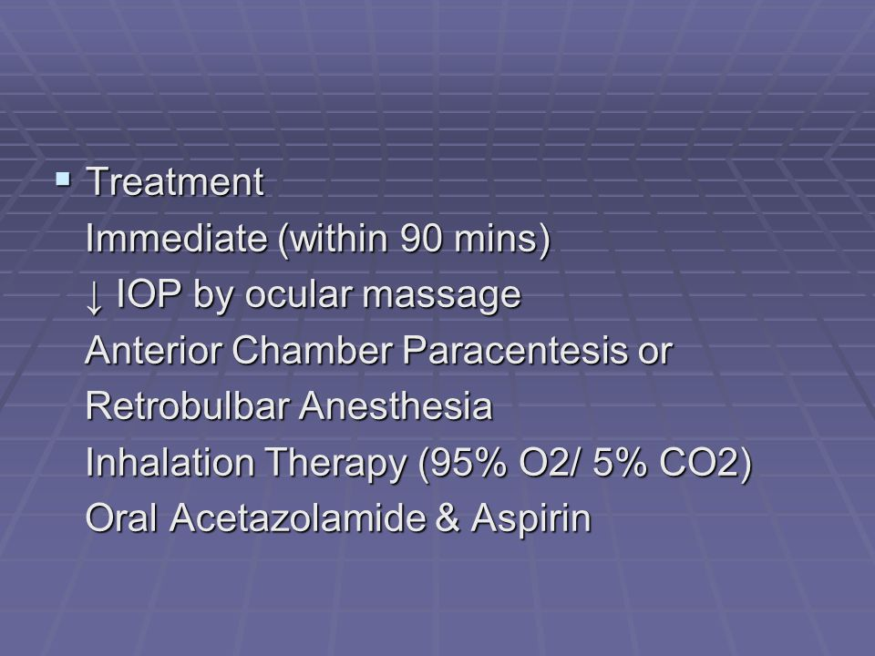 Immediate (within 90 mins) ↓ IOP by ocular massage