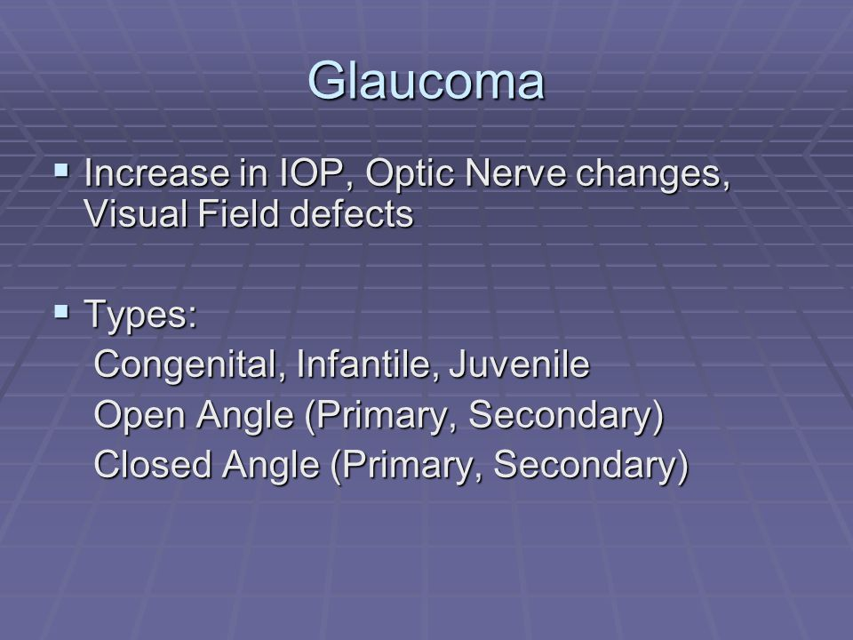 Glaucoma Increase in IOP, Optic Nerve changes, Visual Field defects