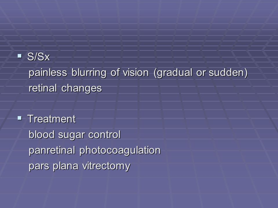 S/Sx painless blurring of vision (gradual or sudden) retinal changes. Treatment. blood sugar control.