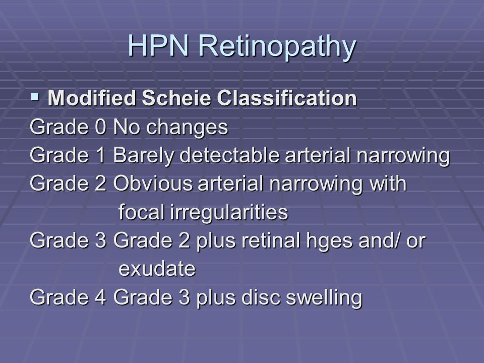 HPN Retinopathy Modified Scheie Classification Grade 0 No changes