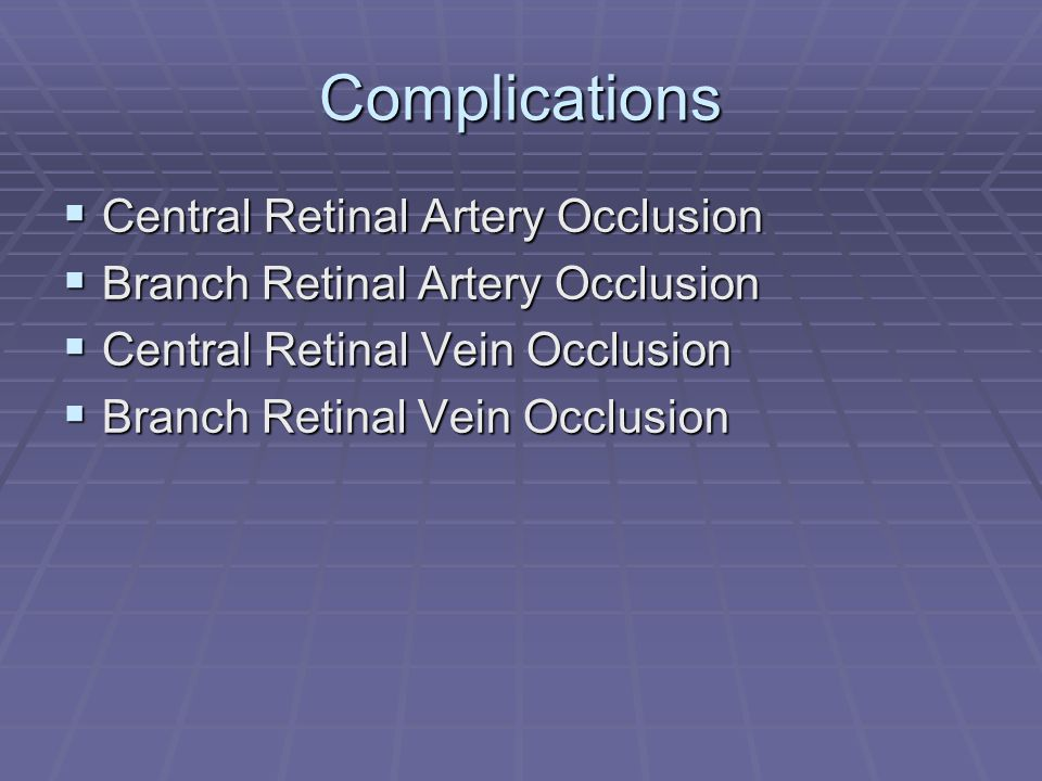 Complications Central Retinal Artery Occlusion