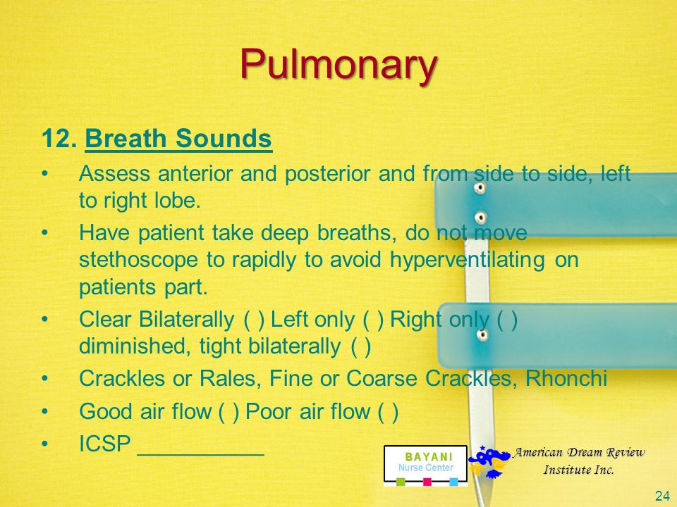 Pulmonary 12. Breath Sounds