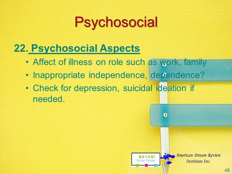 Psychosocial Psychosocial Aspects