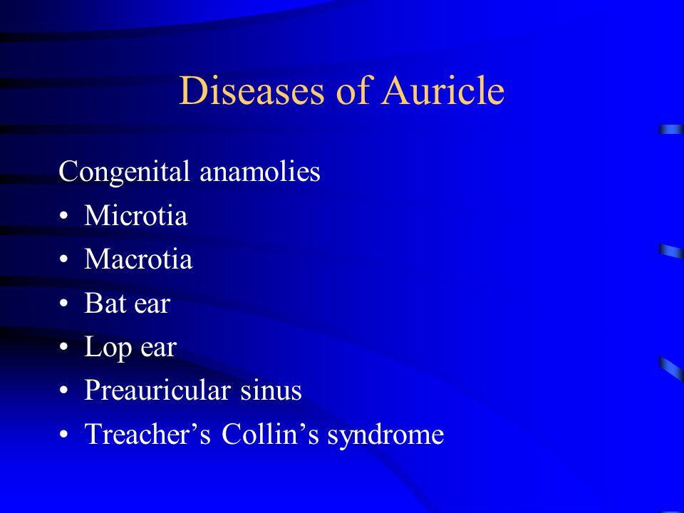 Diseases of Auricle Congenital anamolies Microtia Macrotia Bat ear