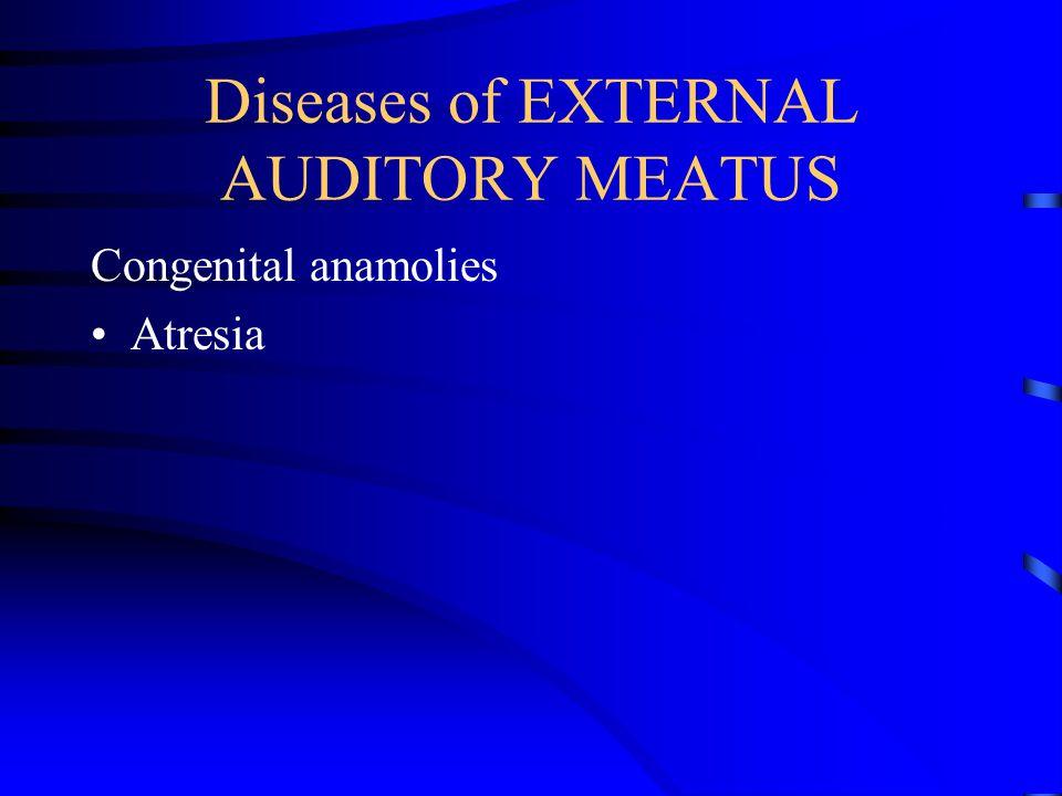 Diseases of EXTERNAL AUDITORY MEATUS