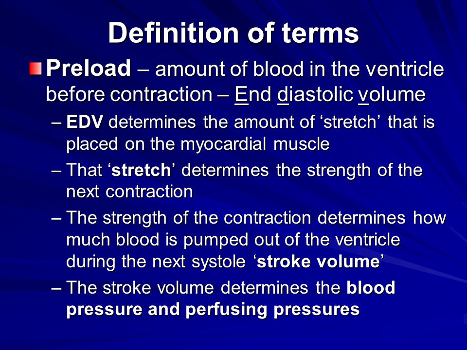 Definition of terms Preload – amount of blood in the ventricle before contraction – End diastolic volume.