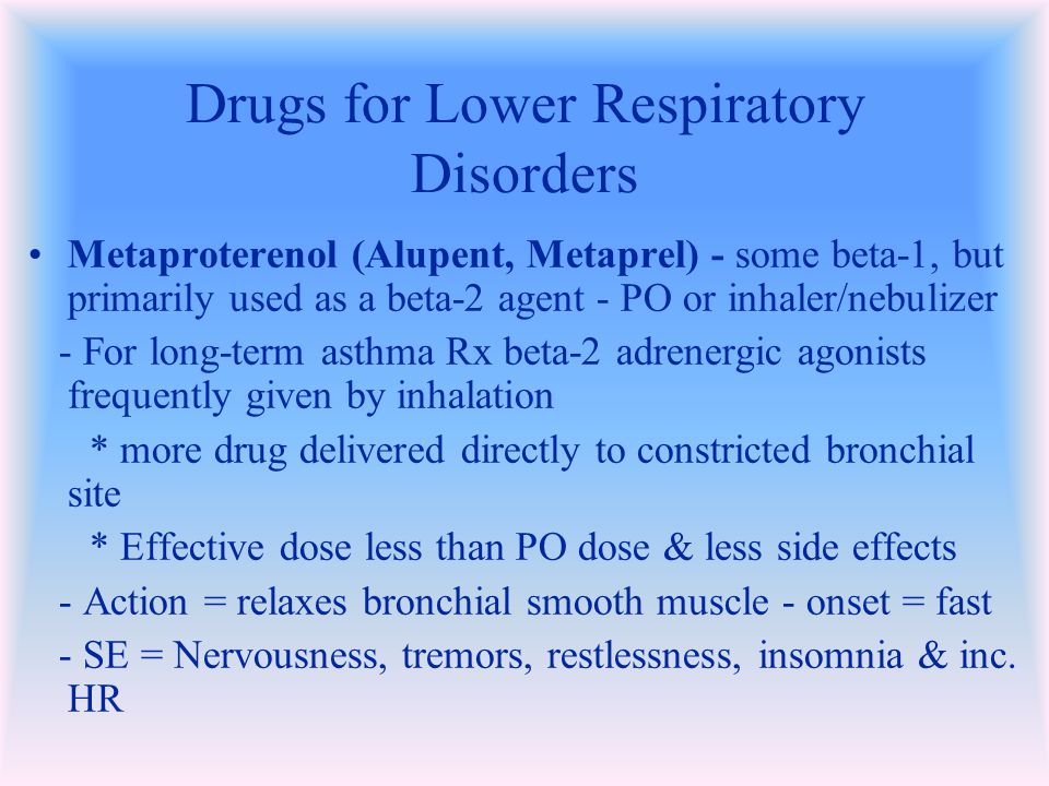 Drugs for Lower Respiratory Disorders