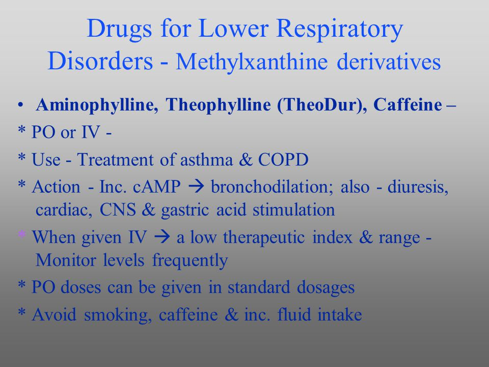 Drugs for Lower Respiratory Disorders - Methylxanthine derivatives
