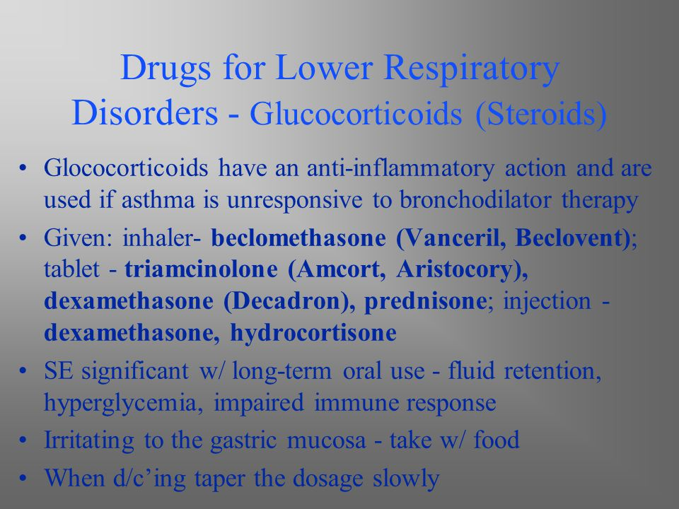 Drugs for Lower Respiratory Disorders - Glucocorticoids (Steroids)