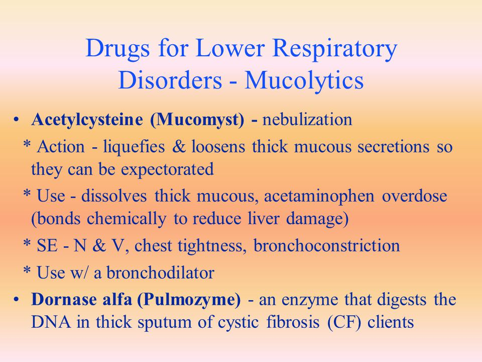 Drugs for Lower Respiratory Disorders - Mucolytics