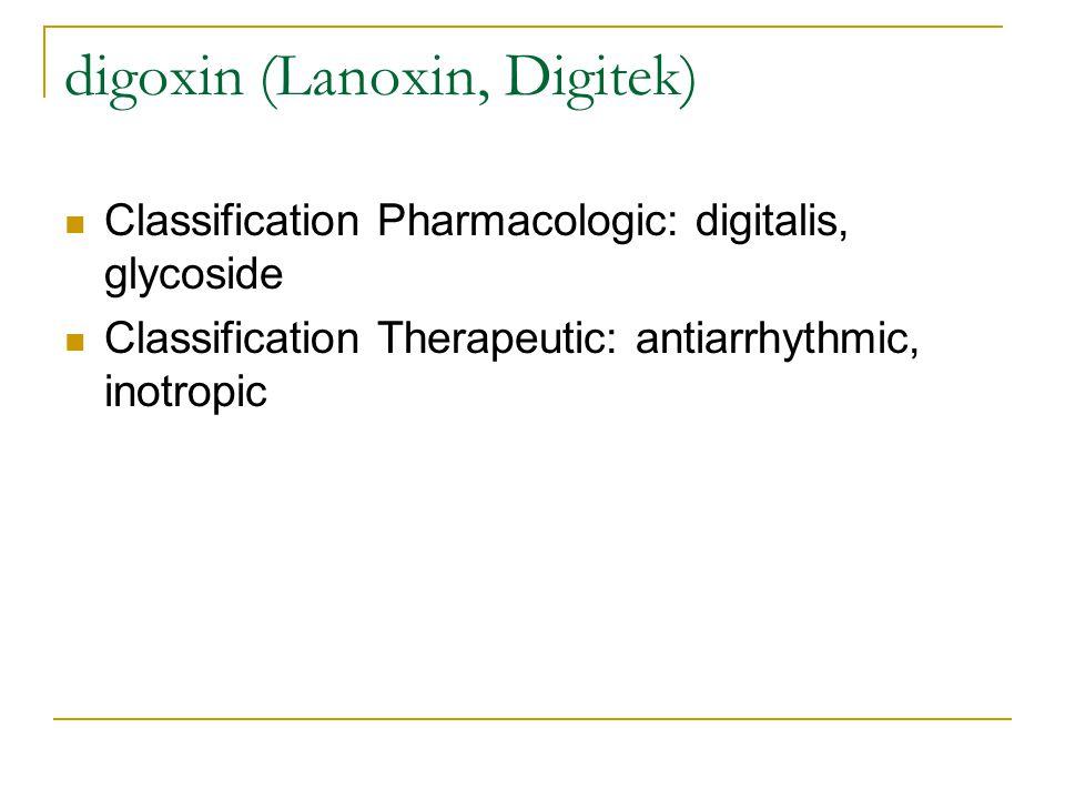 digoxin (Lanoxin, Digitek)