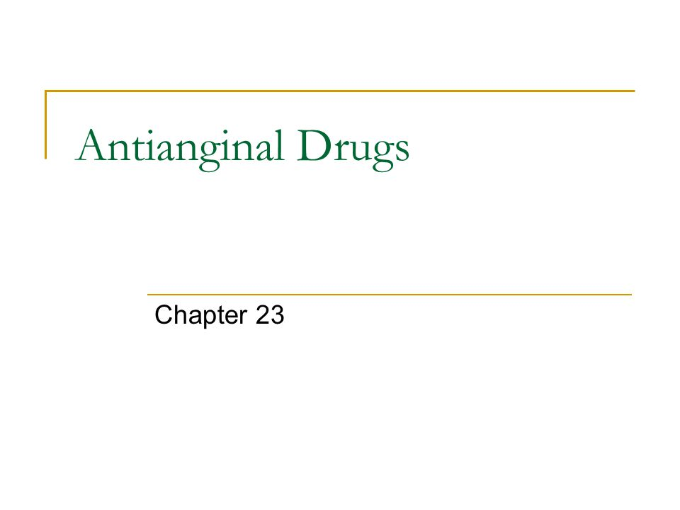Antianginal Drugs Chapter 23