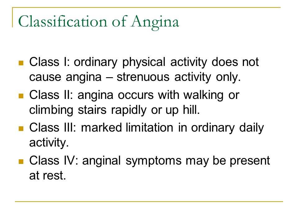 Classification of Angina