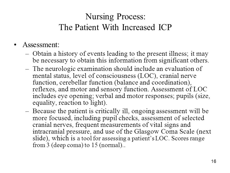 Nursing Process: The Patient With Increased ICP