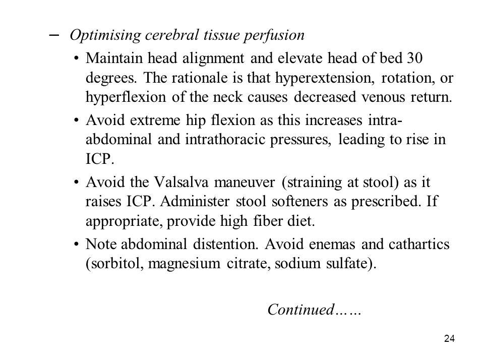 Optimising cerebral tissue perfusion