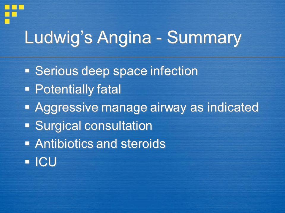 Ludwig's Angina - Summary