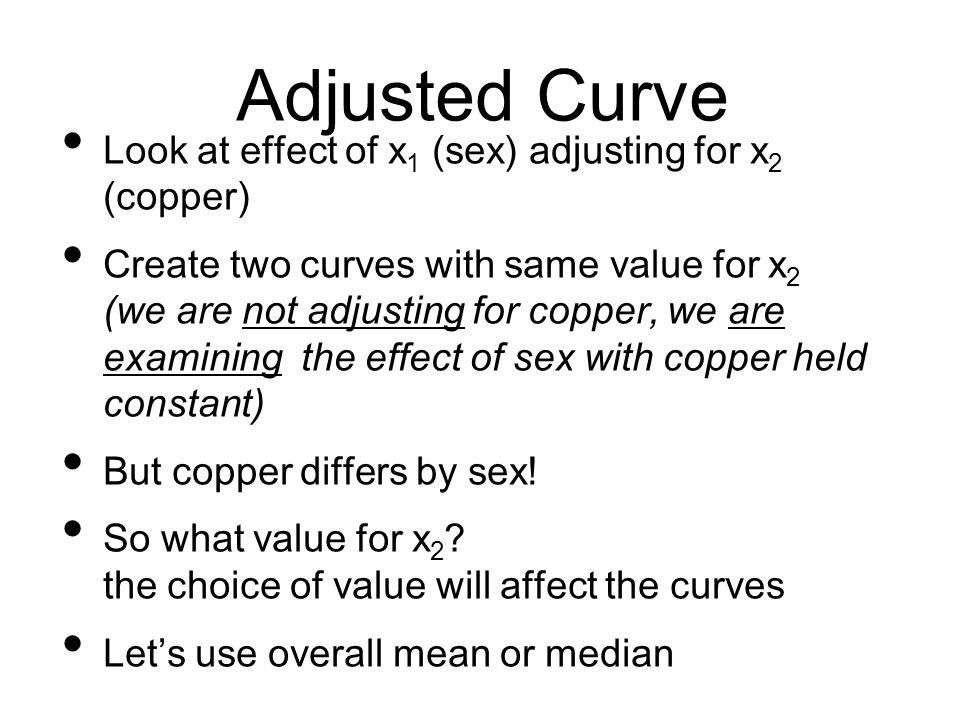 Adjusted Curve Look at effect of x1 (sex) adjusting for x2 (copper)
