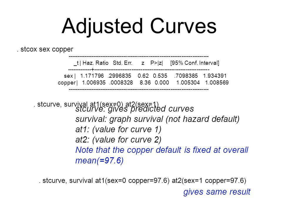 Adjusted Curves stcurve: gives predicted curves