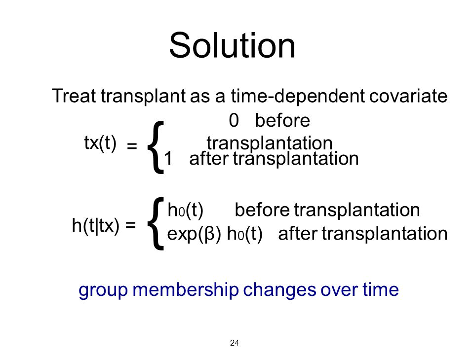 { { Solution Treat transplant as a time-dependent covariate