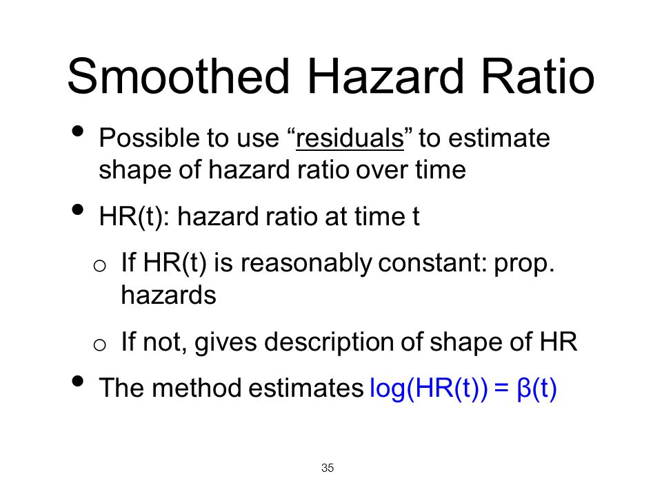Smoothed Hazard Ratio Possible to use residuals to estimate shape of hazard ratio over time. HR(t): hazard ratio at time t.