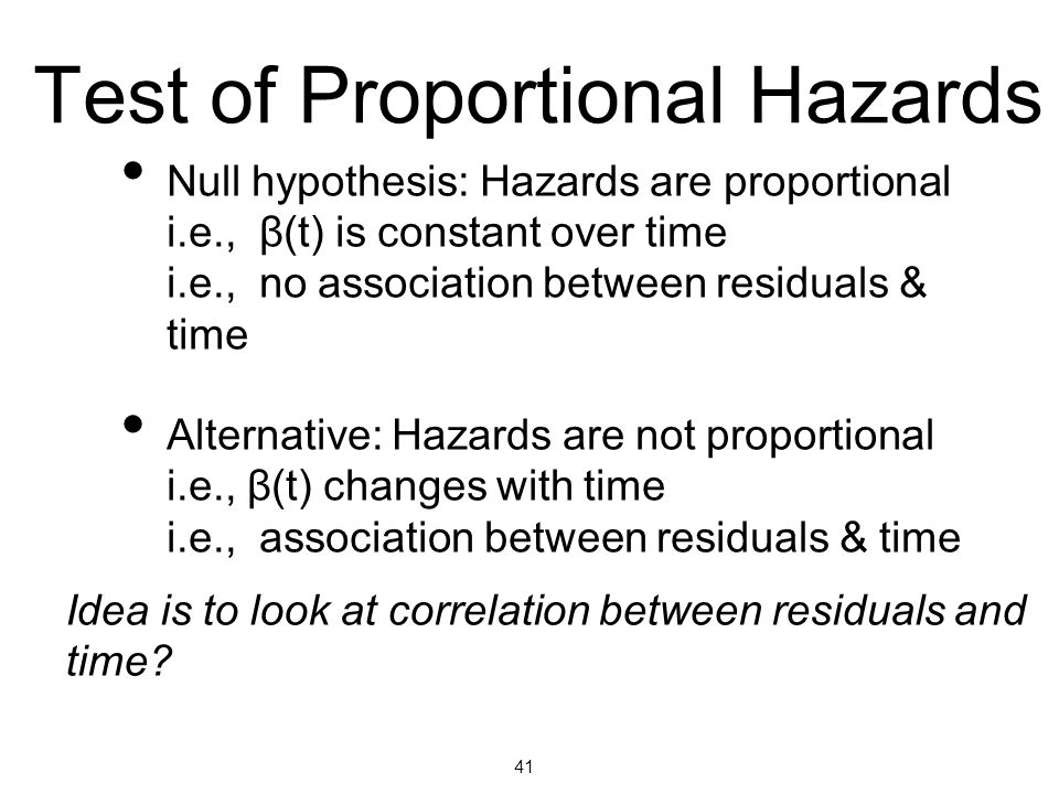 Test of Proportional Hazards