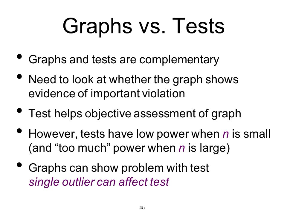 Graphs vs. Tests Graphs and tests are complementary