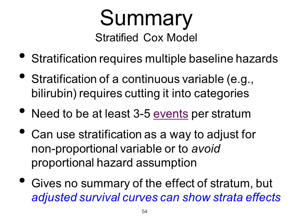 Summary Stratified Cox Model