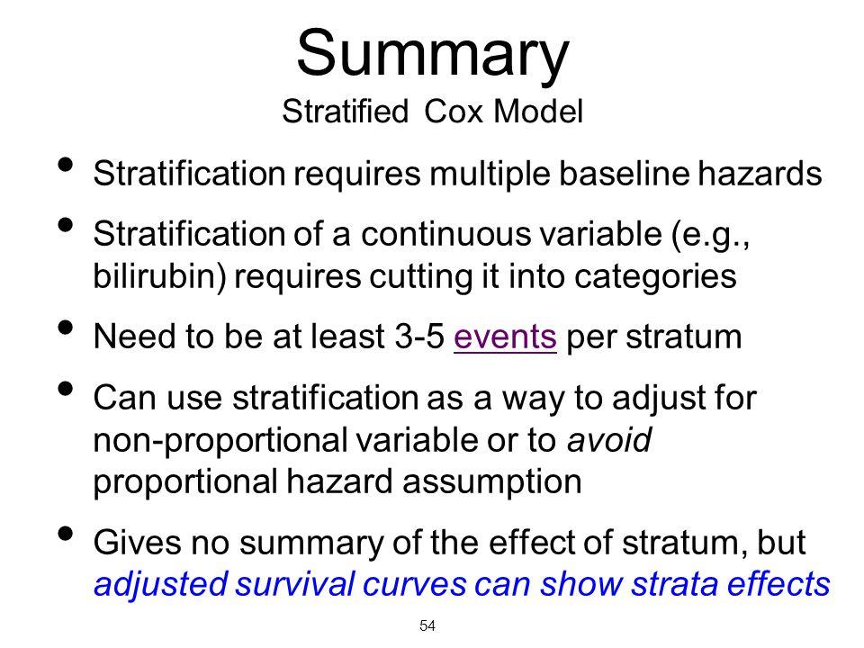 Summary Stratified Cox Model