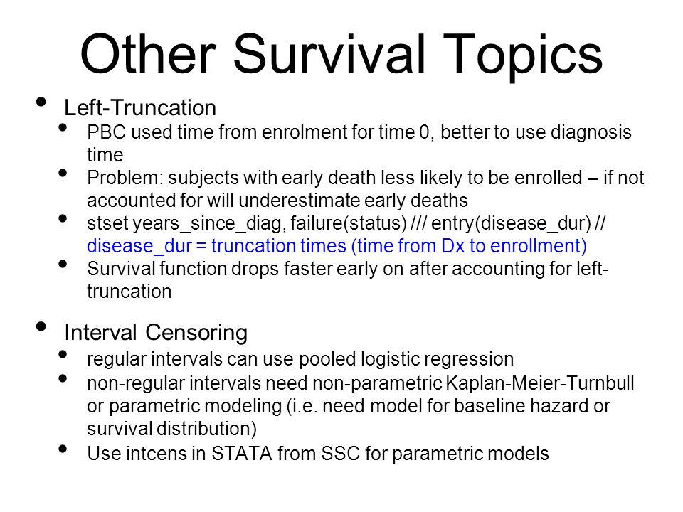 Other Survival Topics Left-Truncation Interval Censoring