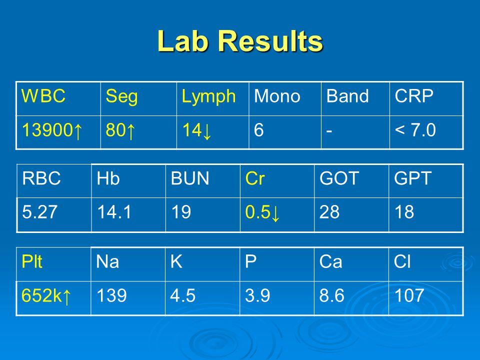 Lab Results WBC Seg Lymph Mono Band CRP 13900↑ 80↑ 14↓ 6 - < 7.0
