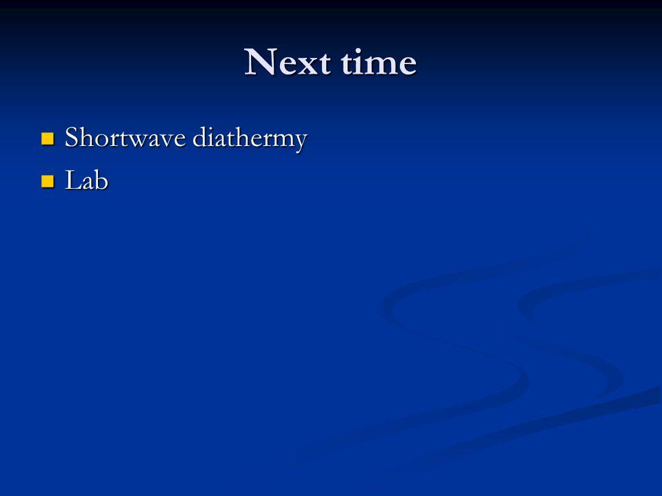 Next time Shortwave diathermy Lab