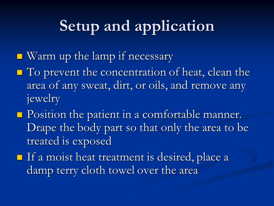 Setup and application Warm up the lamp if necessary