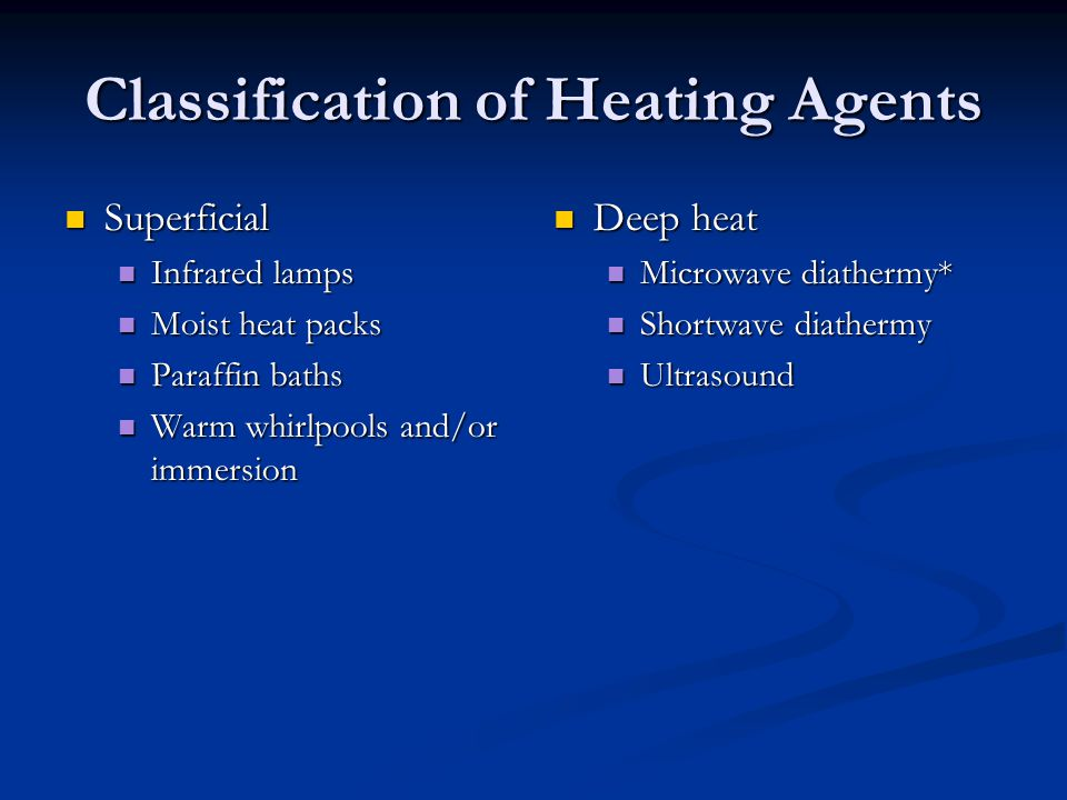 Classification of Heating Agents