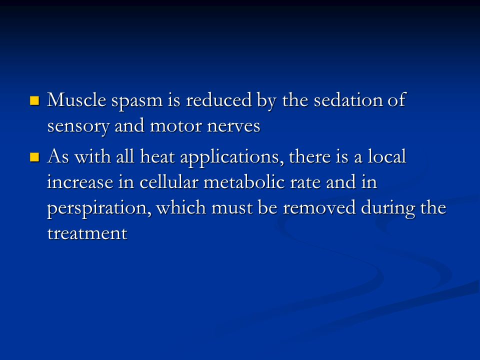 Muscle spasm is reduced by the sedation of sensory and motor nerves