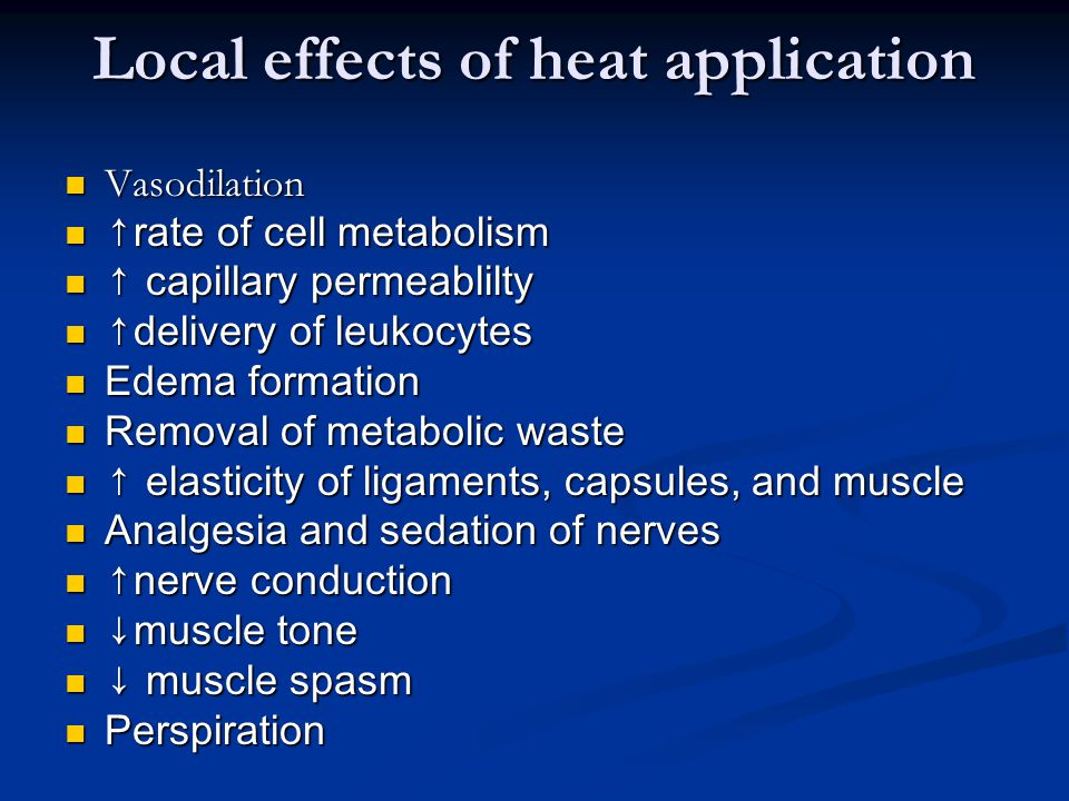 Local effects of heat application