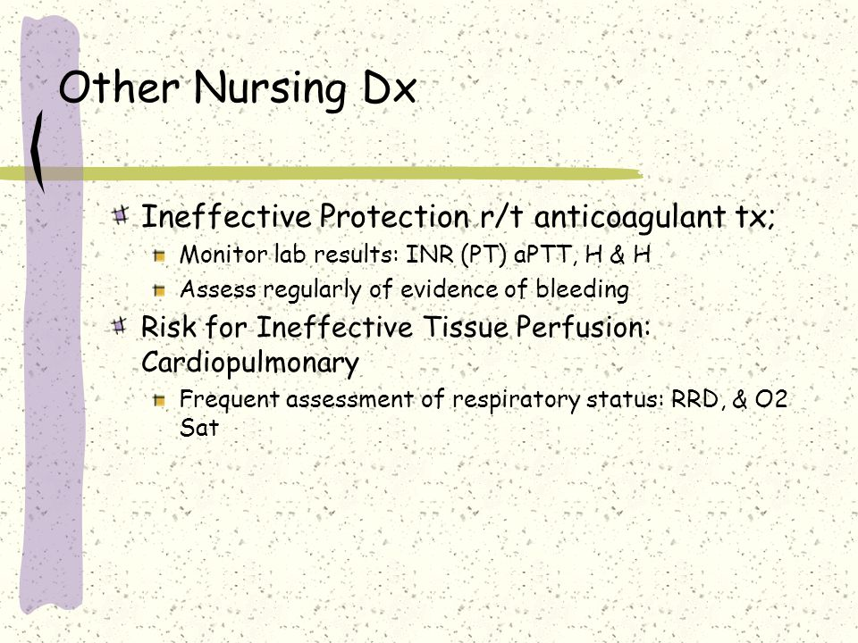 Other Nursing Dx Ineffective Protection r/t anticoagulant tx;