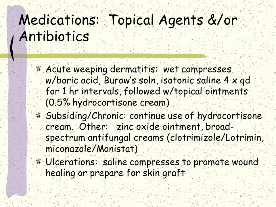 Medications: Topical Agents &/or Antibiotics