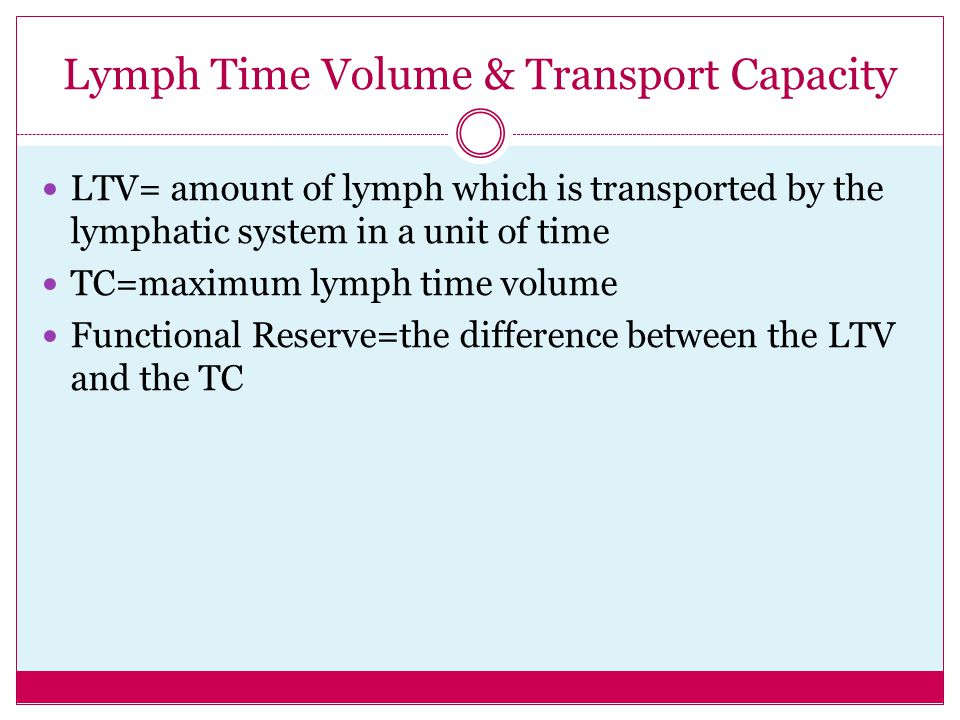 Lymph Time Volume & Transport Capacity
