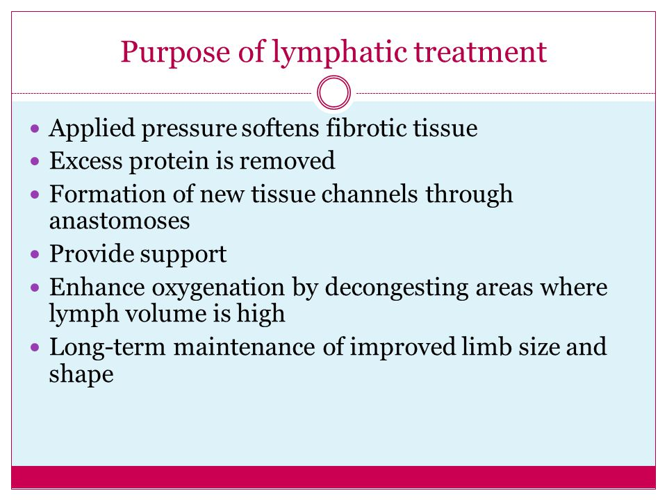 Purpose of lymphatic treatment
