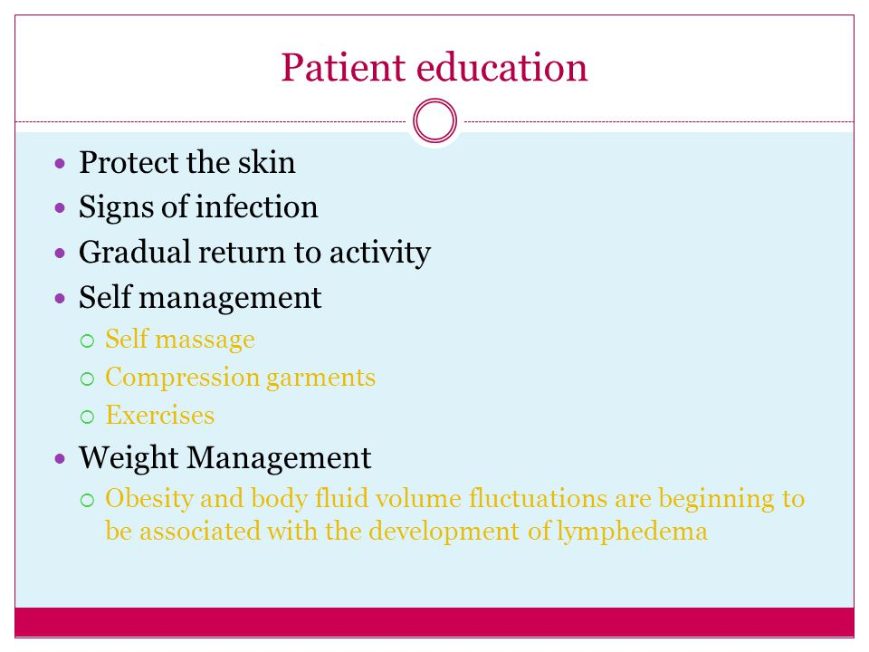 Patient education Protect the skin Signs of infection