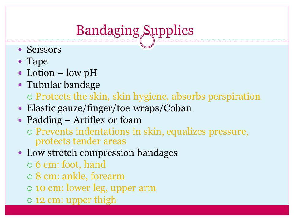 Bandaging Supplies Scissors Tape Lotion – low pH Tubular bandage