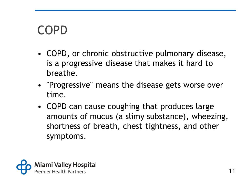 COPD COPD, or chronic obstructive pulmonary disease, is a progressive disease that makes it hard to breathe.