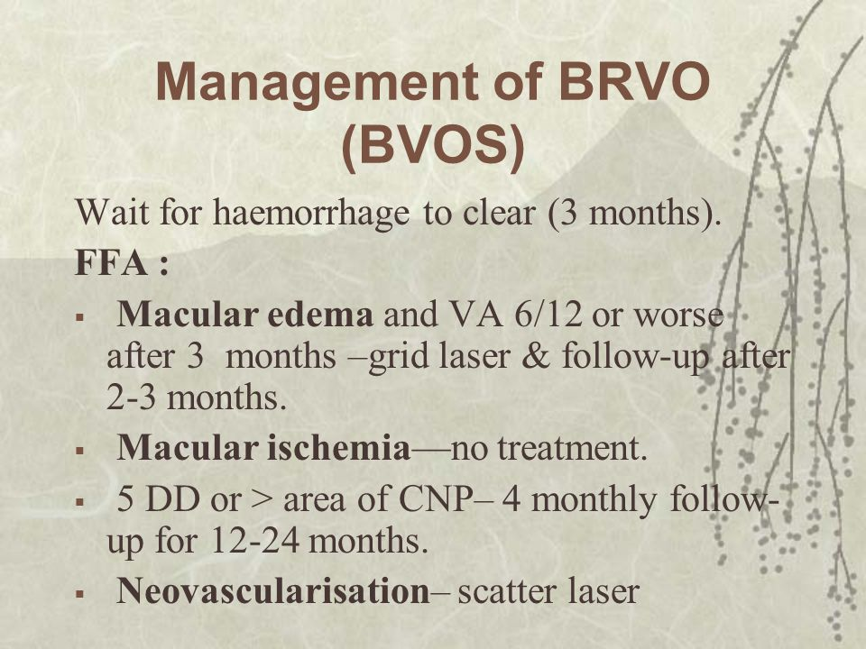 Management of BRVO (BVOS)