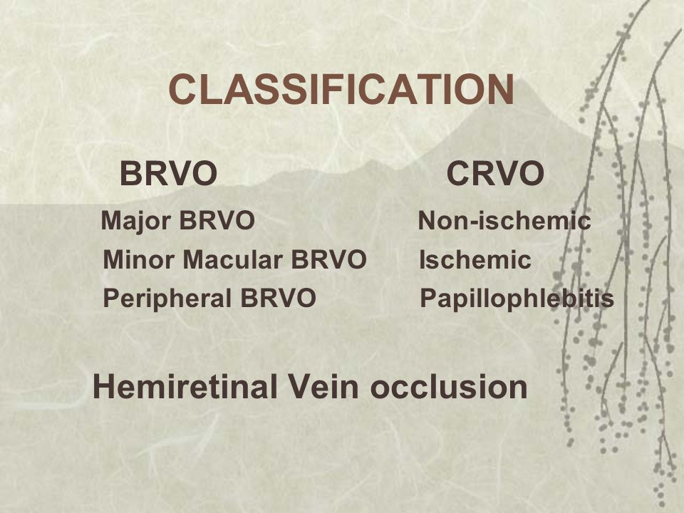 CLASSIFICATION BRVO CRVO Major BRVO Non-ischemic
